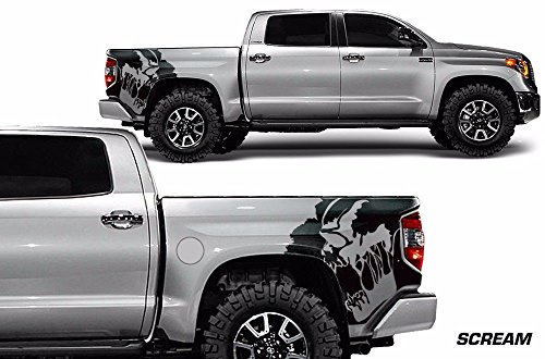 Quarter Panel Decal - Factory Crafts Scream Rear Quarter Panel Graphics Kit 3M Vinyl Decal Wrap Compatible with Toyota Tundra 2014-2017 - Matte Black