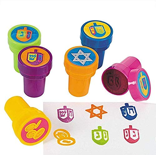 Hanukkah Stamps - Six Multicolored Hanukkah Stamps Each Stamp Includes A Fun Chanukkah Icon Including The Star of David, Dreidels and Coins!