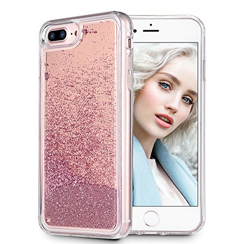 Bead Liquid - Maxdara iPhone 8 Plus case, iPhone 7 Plus Case [Mirror Series], Glitter Liquid Floating Bling Bumper Case Pretty Fashion Design for Girls Children -iPhone 6Plus/7Plus/8Plus (Rosegold)