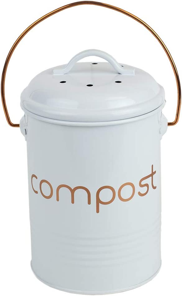 Home Basics Grove Compact Countertop Compost Bin Bucket for Kitchen Food Scraps with Lid Durable Steel and Easy to Use Handle, White