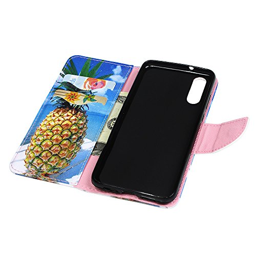 Tophung Huawei P20Case Wallet, shokproof Premium PU Leder Flip Notebook Wallet Case mit Ständer Kreditkarte ID Slot Halterung Magnetverschluss schutztasche Slim Haut Cover für Huawei P20 eule Ananas