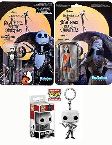 - Scary Nightmare Before Christmas Figure Triple NBX: (Shocked Chase) Jack Skellington Reaction Figure + Sally Reaction Figure + Pocket Pop Jack Keychain Loving Dead Pack 3 Item Collectible Set