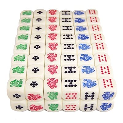 100 (One Hundred) 16mm 6-Sided Poker Dice, Perfect for Poker Games and Card Games.: Sports & Outdoors