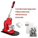 Slendor 1 inch 25mm Button Badge Maker Machine Punch Press Kit with 1000 Pcs Button Parts Supplies and Circle Cutter and Extra 100 Buttons for Training and Practice