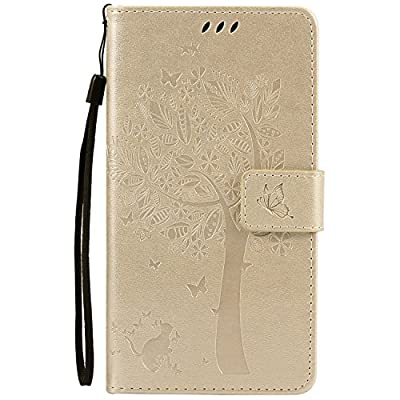 NOMO Moto Z Force Case,Moto Z Force Wallet Case,Moto Z Force Flip Case PU Leather Emboss Tree Cat Flowers Folio Magnetic Kickstand Cover with Card Slots for Motorola Moto Z Force by NOMO