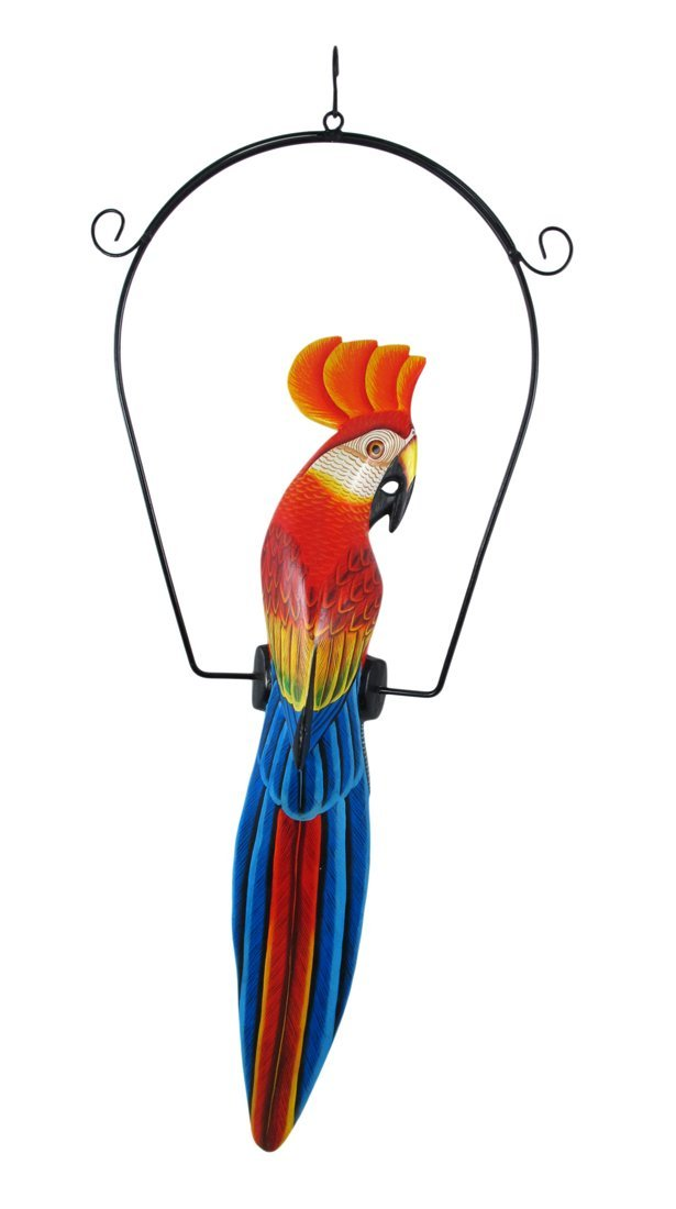 Hand Painted Wood Red and Blue Cockatoo Bird Hanging Statue 23 Inch