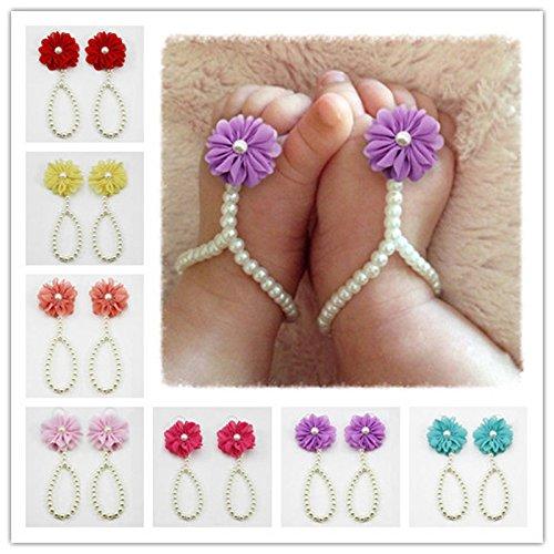 Hot SaleOWMEOT Baby Girl Pearl Chiffon Foot Flower Shoes Barefoot Sandals (G)