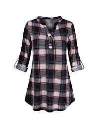 Women Henley Shirts Casual Plaid Roll Up Sleeve V Neck Buttton Down Blouse Pullover