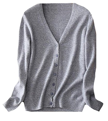 - CFD Womens Classic V-Neck Button Down Cashmere Cardigan Sweater XS Grey