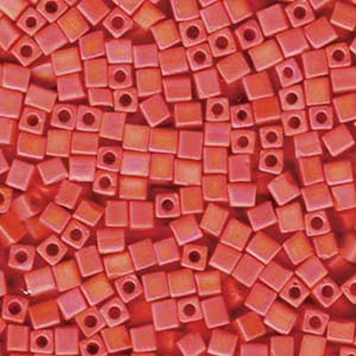 Beads Ab Seed Matte - 20Gr Opaque Orange Matte Ab Miyuki 4mm Square Cube Glass Seed Beads