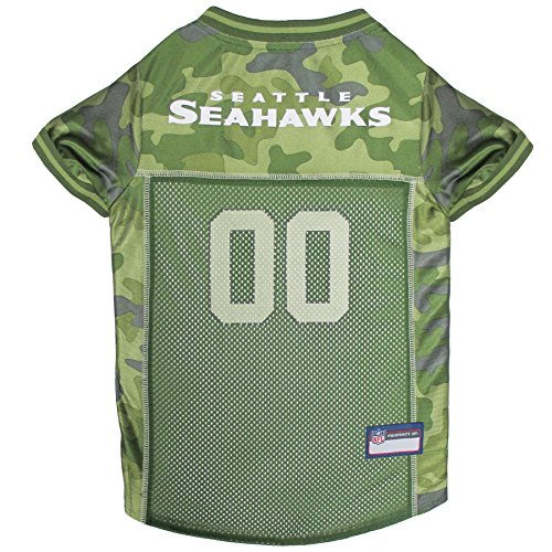 NFL Seattle Seahawks Camouflage Dog Jersey, Medium. - CAMO PET Jersey Available in 5 Sizes & 32 NFL Teams. Hunting Dog -