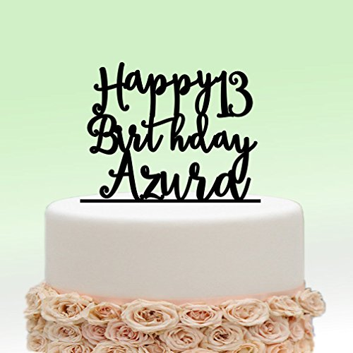 Ivisi Personalized Birthday Cake Topper Monogram Decoration Anniversary Gift