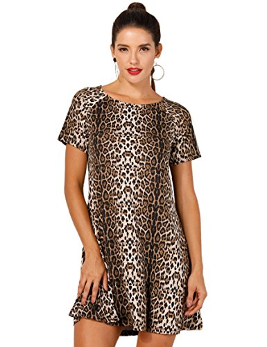 (OEUVRE Women Chic Apparel Leopard Print Babydoll Mini Tunic Dress DLeo)