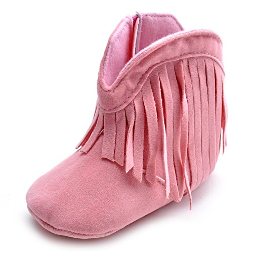 Estamico Baby Girls Cowboy Tassel Boots Pink US 5 (Pink Cowboy Girls Boot)
