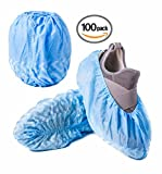 Disposable Protective Shoe and Boot Covers: Premium Blue Cloth Booties, Non Slip, Elastic Fit Up to Men's Size 11 & Woman's 12.5 - Construction, Painting, Home Inspector, Realtor - 100 Count/50 Pairs