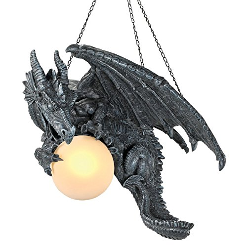 Design Toscano CL1868 Nights Fury Dragon Gothic Decor Hanging Light Fixture, 21 Inch, Greystone