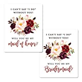 Elegant Floral Bridesmaid Proposal Labels | Will You be My Bridesmaid Wine Labels | Bridesmaid and Maid of Honor Gift Box Labels| I Can't Say I Do Without You Maid of Honor Labels