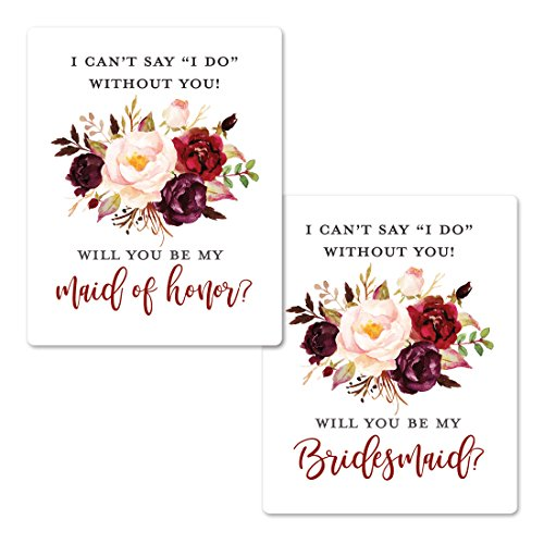 Elegant Floral Bridesmaid Proposal Labels   Will You be My Bridesmaid Wine Labels   Bridesmaid and Maid of Honor Gift Box Labels  I Can't Say I Do Without You Maid of Honor Labels