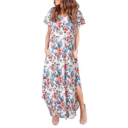 Evening Party Dress for Women,LuluZanm Sales,Ladies Boho Summer Ankle Length Beach Dresses Loose Print Prom Dresses White from Luluzanm-Dress