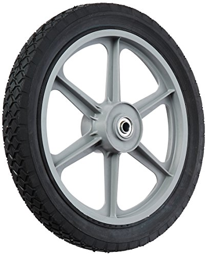 "Maxpower 335110 14"" x 1.75"" Spoked Plastic Wheel with Diamond Tread, Black"