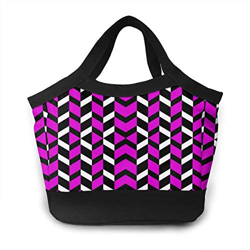 JHNDKJS Hot Magenta Chevron Fabric (8207) Lunch Bag Insulated Lunch Box Cooler Bag for Women Men Adults Work