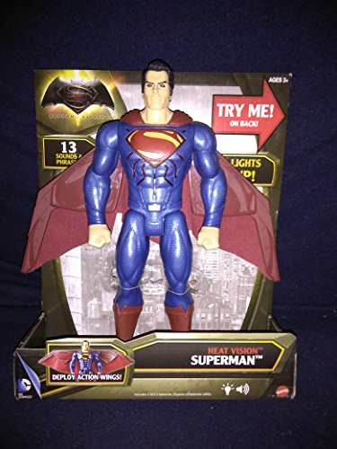 (Batman vs Superman Heat Vision Superman Electronic Light Up Chest And Eyes Figure With Deploy Action Wings And 15 Sounds & Phrases New In Unopened Box)
