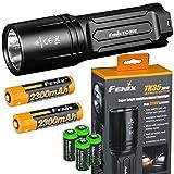 EdisonBright FENIX TK35 Ultimate 2018 Edition UE 3200 Lumen LED Tactical Flashlight with 2 X Fenix 18650 Li-ion rechargeable batteries, 4 X CR123A Lithium batteries bundle