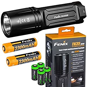EdisonBright FENIX TK35 Ultimate 2018 Edition UE 3200 Lumen LED Tactical Flashlight with 2 X Fenix 18650 Li-ion rechargeable batteries, 4 X CR123A Lithium batteries bundle