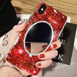 3D Crystal Handmade Case for Samsung Galaxy S8,Aoucase Luxury Beauty Bling Crystal Rhinestone Diamond Glitter Mirror Makeup Hard PC Case with Black Dual-use Stylus,Red
