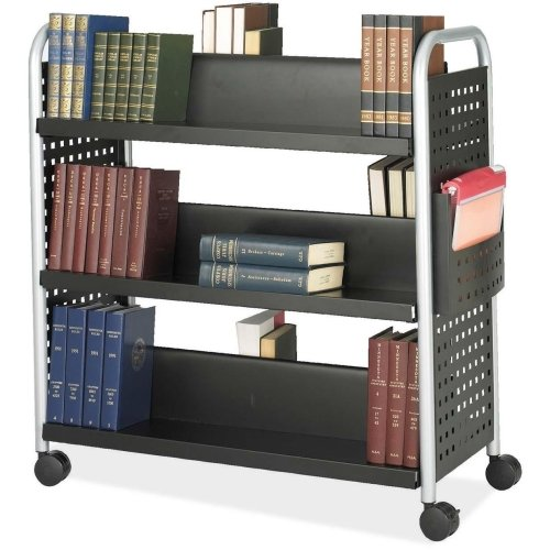 Safco Scoot Double Sided Book Cart - 6 Shelf - 4 x 3quot; Caster - Steel - 41.3quot; x 17.8quot; x 41.3quot; - Black, Silver