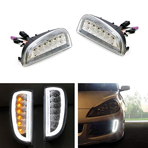 iJDMTOY Clear Lens LED Daytime Running Lights Assy For 07-10 Porsche Cayenne w/Turn Signal Lamps, OEM Fit DRL Assembly Powered by Osram LED -