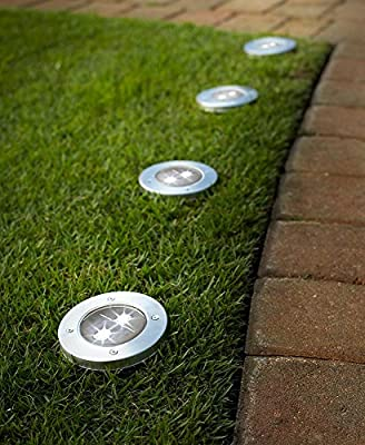 All Weather Resistant, Rust Resistant, Stainless Steel In Ground Solar Stake Pathway and Garden Bed LED Lights, Pack of 4