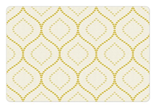 Lunarable Moroccan Trellis Pet Mat for Food and Water, Dotted Wavy Lines with Persian Inspirations Timeless Vintage Pattern, Rectangle Non-Slip Rubber Mat for Dogs and Cats, Yellow and - Rug Lines Inspirations Multi