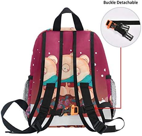 水彩画のクマ幼児バックパックブックバッグミニショルダーバッグ1-6年旅行男の子女の子子供用チェストストラップホイッスル