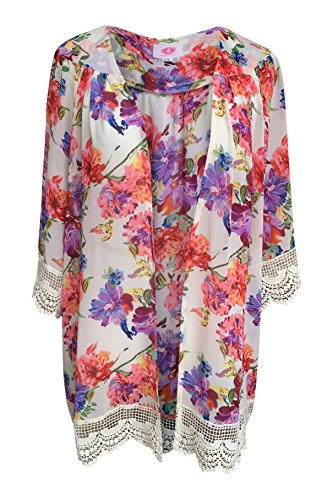 Women's Vintage Floral and Lace Trimmed Chiffon Cardigan Kimono
