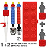 Brick Figure Spoon, Fork, Training Chopsticks and Case set for Toddler Kid Children (Red)