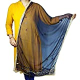 Indian Net Dupatta Chiunni Stole Neck Wrap Hijab Scarf Stole With Golden Border For Women (Navy Blue)