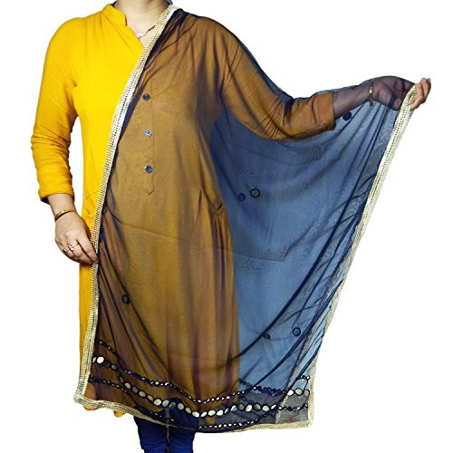 Indian Net Dupatta Chiunni Stole Neck Wrap Hijab Scarf Stole With Golden Border For Women (Navy Blue) by Stylob