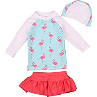 Girl 2 Piece Flamingo Long Sleeve Swimsuit with Bikini Skirt Outfits Kid Children UV Sun Protective Swimwear