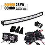 50 Inch Curved Light Bar W/ 2X 4Inch Led Pods Cube Driving Fog Lamp 3 Lead Wirng Harness Kit For Jeep XJ MJ Cherokee Chevy Silverado/GMC Sierra Dodge Ram 2500 3500 Yukon Ford F150 F250 350 450 RAPTOR
