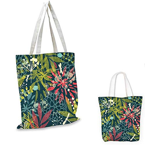 Leaf canvas laptop bag Petrol Green Backdrop Abstract Flowers Dragonflies Buds Dandelions Image foldable shopping bag Pink Green and White. 12