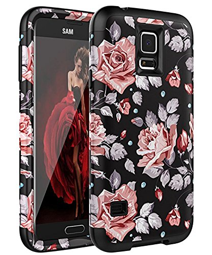 Galaxy S5 Case,SKYLMW [ Shock Resistant Series ] Hybrid Rubber Case Cover for Samsung Galaxy S5 3in1 Hard Plastic +Soft Silicone Rose - S5 Cases For Galaxy Dollar