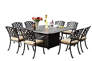 Darlee A/201630-9PC-60GW Ocean View 9 PC Outdoor-and-Patio-Dining-Sets, Antique Bronze