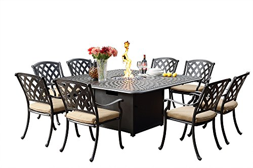 Darlee Ocean View Cast Aluminum 9 Piece Patio Dining Set with 64'' Square Propane Fire Pit Table, Antique Bronze