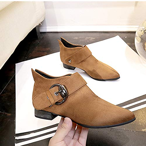 Brown 6 US Brown 6 US Women's Combat Boots Suede Fall Casual Boots Chunky Heel Pointed Toe Booties Ankle Boots Buckle Black Brown Party & Evening
