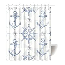 Fashion Custom Retro Art Nautical Chevron Anchors Waterproof Polyester Fabric Shower Curtain 60x72 Inch -- Personalized ADEDIY Home Decor
