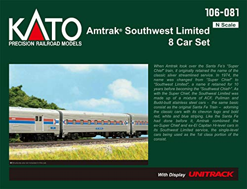 Kato USA Model Train Products N Amtrak Southwest Limited 8-Car Set with Display Unitrack