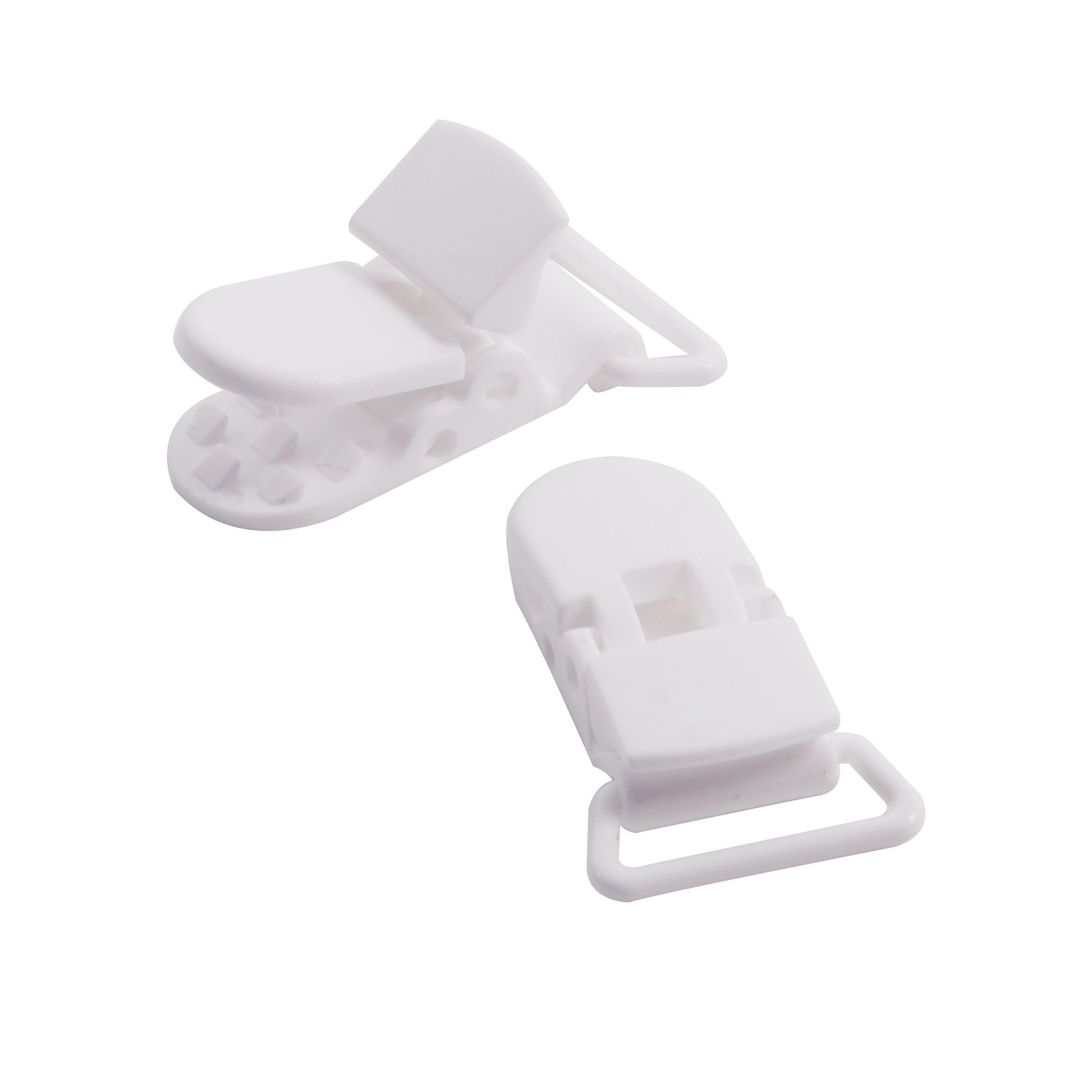 Bib Suspender Clips Binky Toy Holder Dummy White Oldhill 20-Pack Plastic Pacifier Clips for DIY Pacifier