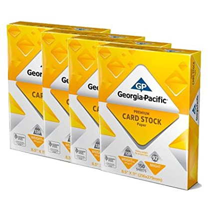 White Cardstock Paper 110 lb Georgia-Pacific 150 Sheets 8.5 x 11 4 pack