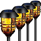 "55"" Tall Solar Torches Lights 4 Pack with Flicking Flame 100% Metal LED Solar Light Outdoor Dancing Stainless Steel Walkway Lighting for Garden Patio Yard Decor Waterproof Pool Path Effect Light"